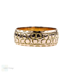 Antique Edwardian 9ct Engraved Wedding Ring, Wide 9k Gold Band. Size T / 9.5.