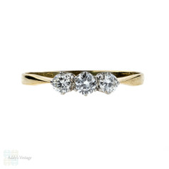 Vintage Three Stone Diamond Engagement Ring, 0.35 ctw Trilogy Ring. 18ct, Mid 20th Century.