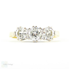 Classic Three Stone Diamond Engagement Ring, 0.50 ctw Round Brilliant Cut Diamond Trilogy Ring in 18ct White & Yellow Gold.