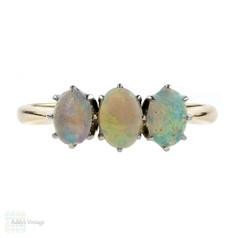 Opal Three Stone Ring, Antique 18k Graduated Design Shape. 18ct & Platinum.