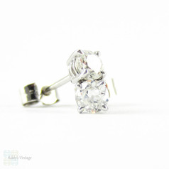 Old European Diamond Stud Earrings. Antique 0.45 ctw Old  Cut Diamonds in Classic 18ct White Gold Mountings.