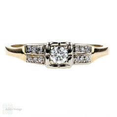 Vintage 1940s Diamond Engagement Ring, Square Set Double Row Ring. 18k & 14k Gold Ring.