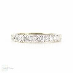 Platinum Diamond Wedding Ring, Vintage 15 Stone Diamond Half Hoop Eternity Band. 0.30 ctw, Size M / 6.25.
