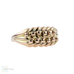 Edwardian Keeper Ring, Antique 9ct Yellow Gold Plaited Band 1900s Birmingham Hallmark.
