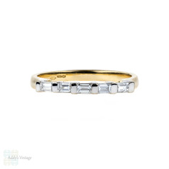 Baguette Diamond Wedding Ring, Straight Cut Diamond Line Ring. 0.28 ctw Five Stone Band, 18 Carat Gold.