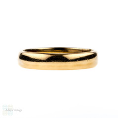 Art Deco 22 ct Wedding Ring, Vintage Wide Court Comfort Fit Ladies Wedding Band. Hallmarked 1920s, Size N / 6.75.