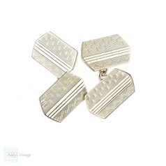 Vintage Sterling Silver Cuff Links, Men's 1950s Engine Turned Double Faced Cufflinks.