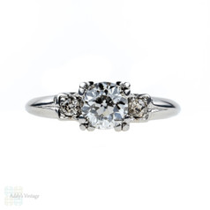 Old European Cut Diamond Engagement Ring, 0.75 ctw. Triple Claw Setting in Platinum, Circa 1930s.