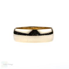Vintage 9ct Men's Wedding Band, Wide 9k Yellow Gold Wedding Ring. Circa 1980s, Size R.5 / 8.75.