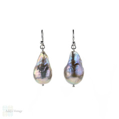Ripple Pearl Drop Earrings, 18ct White Gold Grey Pear Shaped Cultured Pearl Dangle Earrings.