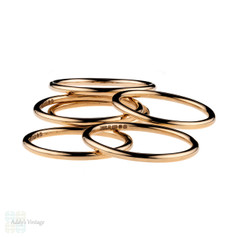 18ct Rose Gold Wedding Band, Simple 1.5 mm Handmade Band. Sizes G to P, Fully Hallmarked.