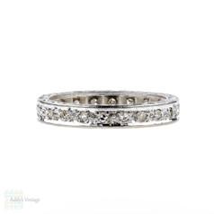 Art Deco Diamond Eternity Ring, Ornately Engraved Wedding Band. Circa 1930s, Size P / 7.75.