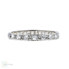 Art Deco Diamond Eternity Ring, Platinum Square Set Full Hoop Wedding Band. Size M / 6.25.
