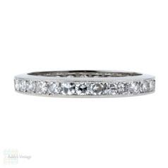 Art Deco Diamond Eternity Ring, 1.16 ctw Channel Set Platinum Wedding Band. Size N.5 / 7.