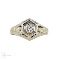 Filigree Art Deco Engagement Ring, White Sapphire in 18k White Gold. Circa 1930s.
