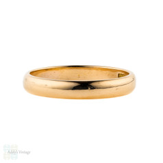 Victorian 22ct Gold Wedding Ring, Antique Ladies D Profile 22k Band. Circa 1850s, Size L / 5.75.