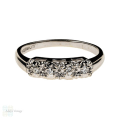 Retro 14k Four Stone Diamond Ring, Vintage 1940s White Gold Illusion Set Wedding Band.
