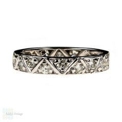 Vintage Diamond Eternity Ring, Geometric Triangle 9ct White Gold Full Hoop Band. Size I.5 / 4.75.