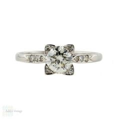 Art Deco Diamond Engagement Ring, Brilliant Cut Diamond in Square 18k & Platinum Mounting.