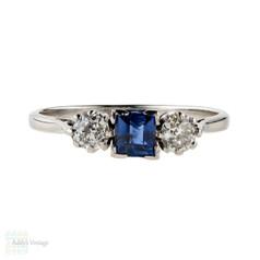 Sapphire & Diamond Engagement Ring, Three Stone Circa 1910s Antique Platinum Ring.