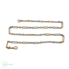 Antique 15ct Rose Gold & Platinum Oblong Link Chain, 46 cm / 18 inches, 18 grams.