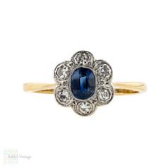 Sapphire & Diamond Art Deco Engagement Ring, Vintage Cluster Ring. 18ct Gold & Platinum.