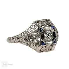 1920s Diamond & Sapphire Engagement Ring, Engraved Platinum Art Deco Ring.