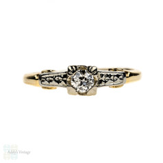 Old European Cut Diamond Engagement Ring, Vintage Two Tone 14k Engraved Setting.