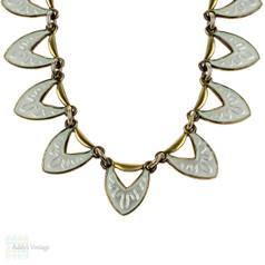 Danish Mid Century White Enamel Necklace, Sterling Silver Gilt Choker Circa 1950s.