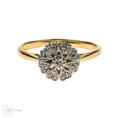 Art Deco Floral Diamond Cluster Engagement Ring with Heart Petals, 18ct Gold & Plat.