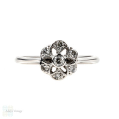 Antique Diamond Cluster Engagement Ring, 1910s Floral Shape with Star Piercing. 18ct & Platinum.