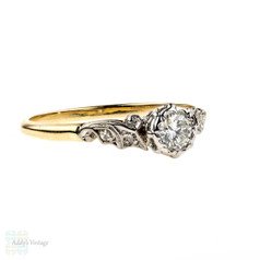 RESERVED. Round Brilliant Diamond Engagement Ring with Scrolled Setting. Circa 1940s, 18ct Gold & Platinum.