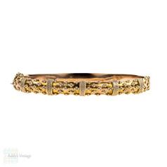 Edwardian 9ct Rose Gold Bracelet, Antique 9k Etruscan Style Revival Bangle. Circa 1900s.