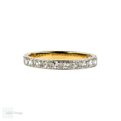 Art Deco Diamond Wedding Ring, Flower Engraved Square Design. 18ct Gold & Platinum, Size M.5 / 6.5.