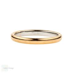 Vintage 22ct & Platinum Wedding Ring, 1940s 22k Ladies Wedding Band. Size M / 6.25.