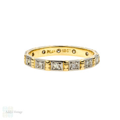 Vintage Diamond Wedding Ring, Engraved Eternity Band. 18ct & Platinum, Size N / 6.75.