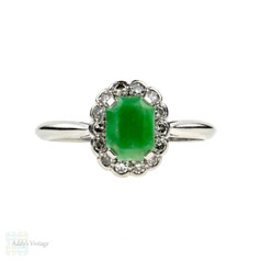 Jade & Diamond Ring, Art Deco 18ct & Platinum Cocktail Ring. Circa 1930s.