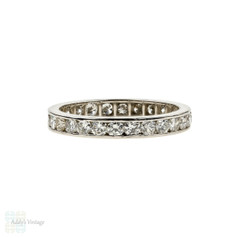 Vintage Diamond Eternity Ring, 0.80 ctw Channel Set Platinum Wedding Band. Size K / 5.25.