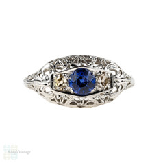 Sapphire & Old Cut Diamond Filigree Engagement Ring. Vintage 1930s, 18k White Gold.
