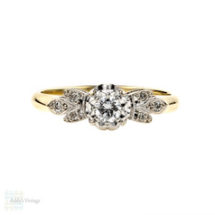 Floral Diamond Engagement Ring, Vintage Single Stone 1960s Ring. 18ct Gold.