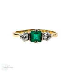 Emerald & Diamond Engagement Ring, Vintage 1940s Three Stone 18ct Ring. 18k Yellow Gold.