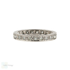 Art Deco Diamond Eternity Ring, 18ct Engraved Wedding Band. 18k, Size K / 5.25.