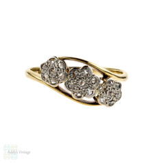Antique Daisy Cluster Ring, Triple Flower Diamond Ring. Circa 1920s, 18ct Gold & Platinum.