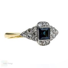 Sapphire & Diamond Art Deco Engagement Ring, Pave Diamond Mounting. 18ct & Platinum.