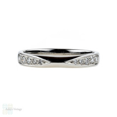 Shaped Platinum Diamond Wedding Ring, Curved Pinched Design Half Eternity Band. Size K / 5.25.