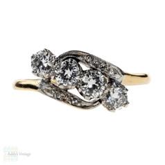 Vintage Quartet Diamond Engagement Ring, Bypass Twist Design. Circa 1940s, 18ct Gold & Platinum.