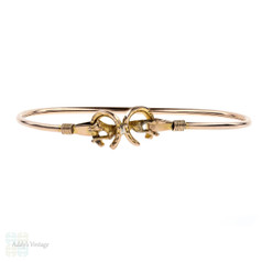 Antique 9ct Rose Gold Fox Bracelet, 1890s Horseshoe Hunting Theme 9k Bangle.