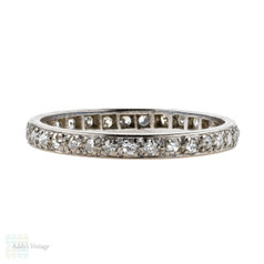 Antique Diamond Eternity Ring, 18k White Gold Wedding Band. 18ct, Circa 1900. Size M / 6.25.