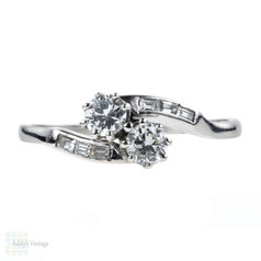 Toi et Moi Diamond Engagement Ring, Old European Cut Art Deco Platinum Bypass Ring.