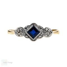 Art Deco Sapphire & Diamond Engagement Ring, 9ct Yellow Gold & Platinum.